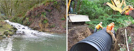 Rebuilt Manly Road Creek Outlet and New Culvert